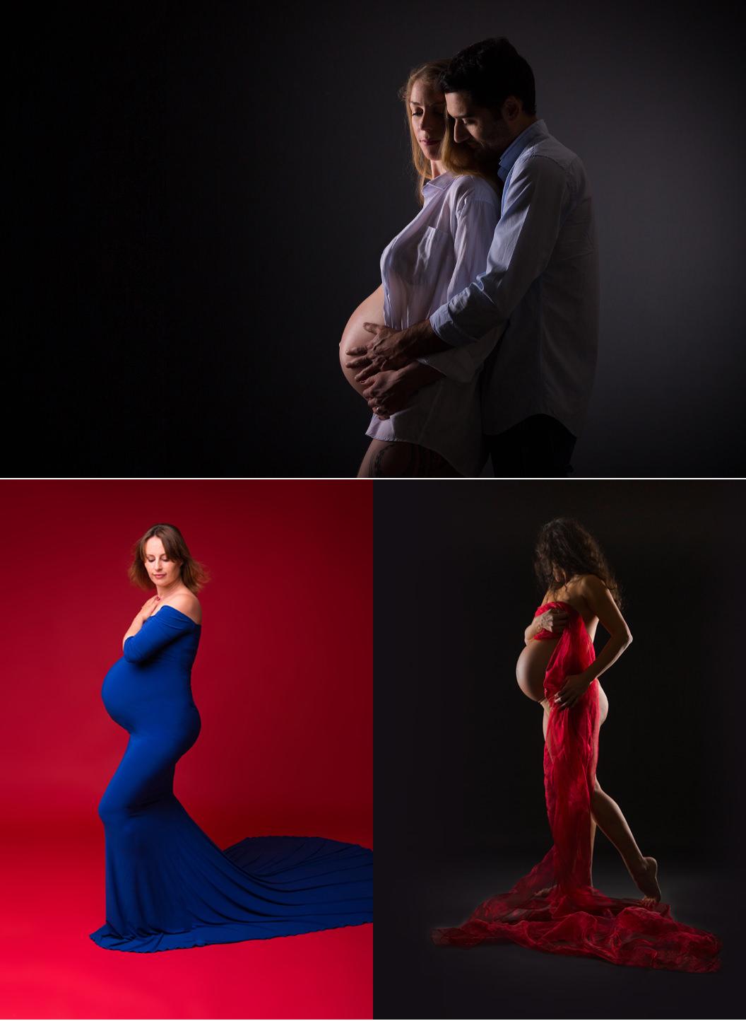Les 2 photographes : Séance couple grossesse en studio
