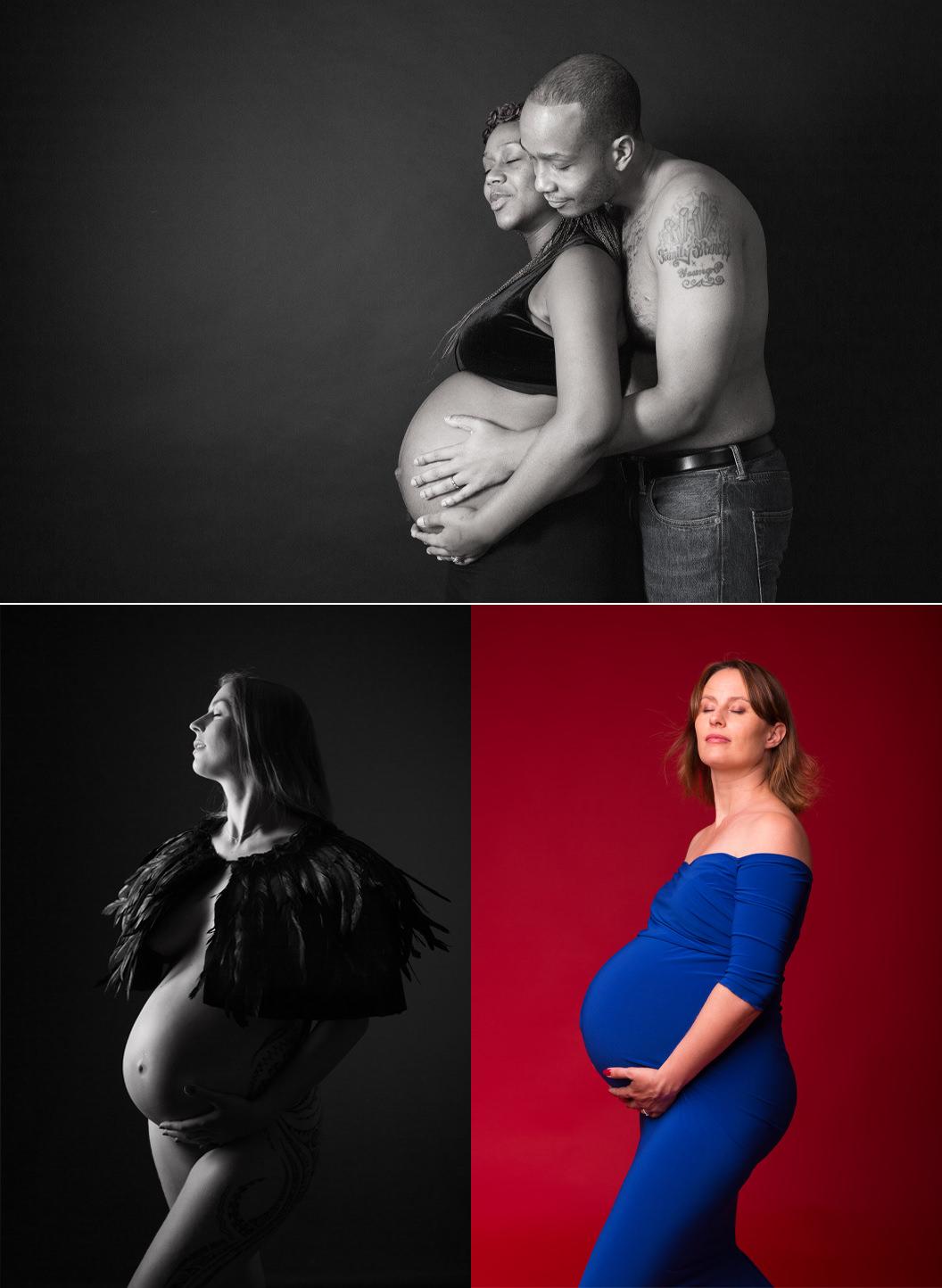 Les 2 Photographes : Séance grossesse couple robe bleue